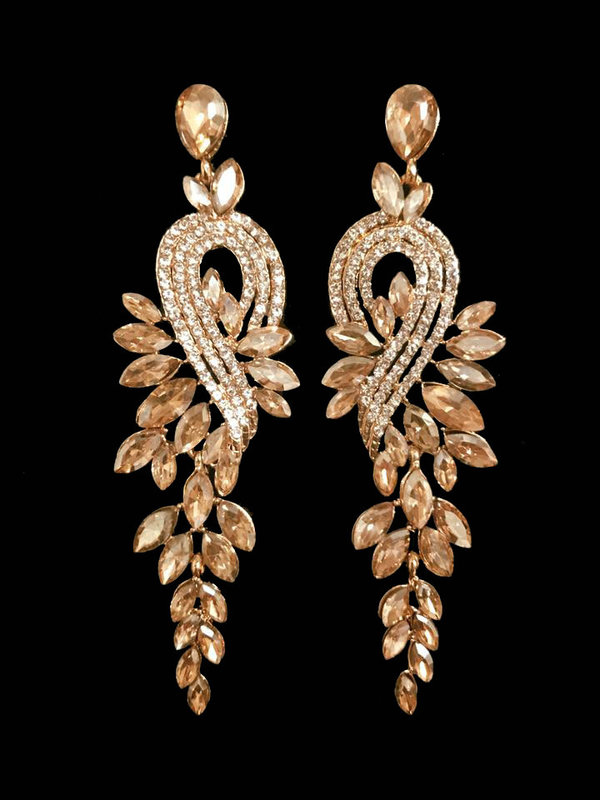 Champagne Gold / Clear Crystal (3.5 inch) Earrings