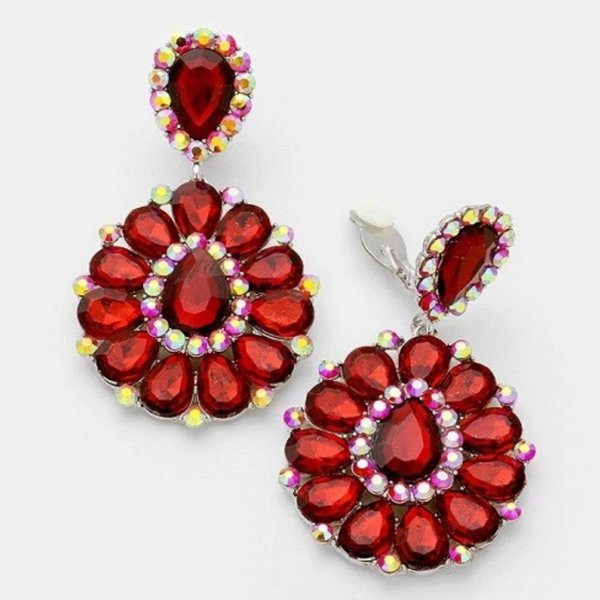 Red with Red AB 3.25 inch Clip On Earrings