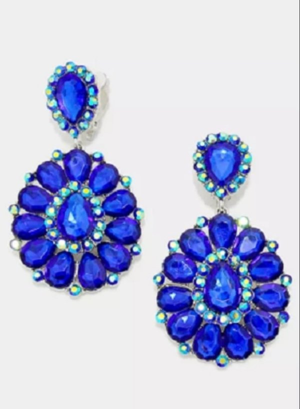 Royal Blue with Royal Blue AB 3.25 inch Clip On Earrings