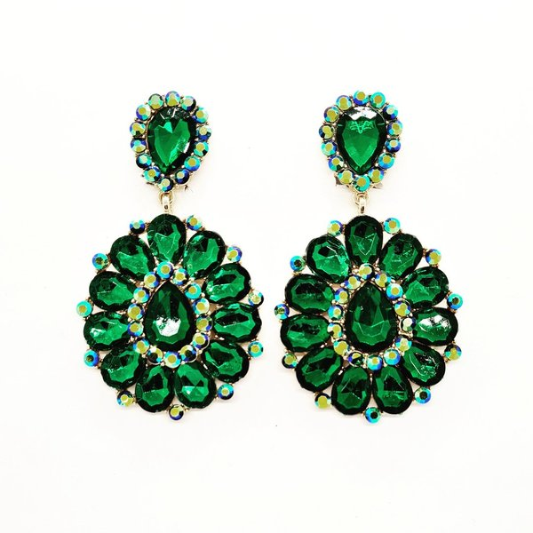 Green with Green AB 3.25 inch Clip On Earrings