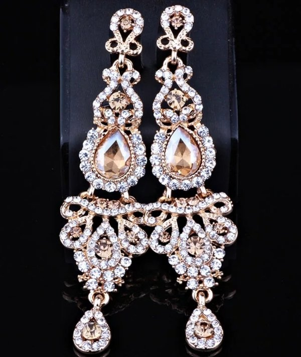 Champagne / Clear Crystal with Gold Lining (3.8 inch) Earrings